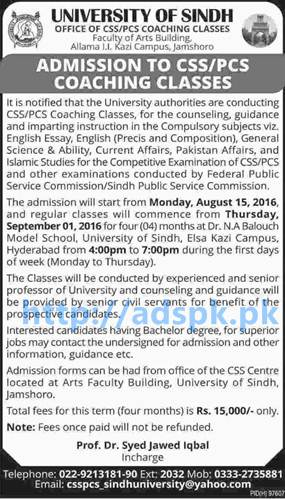 New Admissions Open 2016 University of Sindh Jamshoro for CSS PCS Coaching Classes (FPSC SPSC) Regular Classes will Commence from 01-09-2016 Apply Now