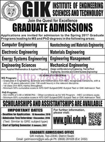 New Admissions Open 2017 GIK Institute of Engineering Sciences and Technology for Graduate Engineering Programs Application Form Deadline 16-11-2016 Apply Now