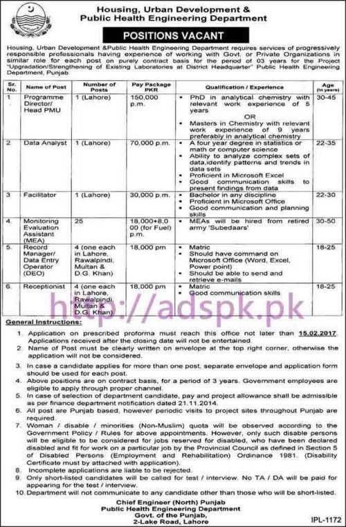 New Career Chief Engineer (North) Punjab Public Health Engineering Department Lahore Jobs for Program Director PMU Data Analyst Facilitator MEA Receptionist Application Deadline 15-02-2017 Apply Now