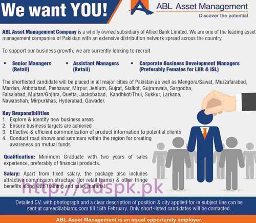 New Career Excellent Jobs Allied Bank Limited ABL Asset Management Company Jobs for Senior Managers Retail Assistant Managers CBDM Application Deadline 15-02-2017 Apply Online Now