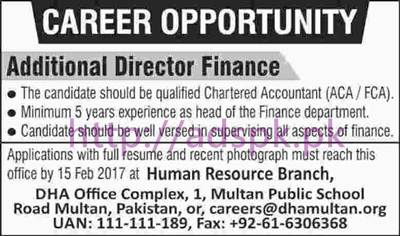 New Career Excellent Jobs Defence Housing Authority DHA Multan Jobs for Additional Director Finance Application Deadline 15-02-2017 Apply Now