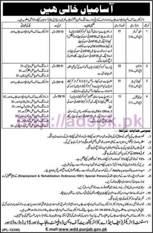 New Career Excellent Jobs Directorate of Women Development Punjab Lahore Jobs for Stenographer Warden Computer Operator Junior Clerk Application Deadline 31-10-2016 Apply Now