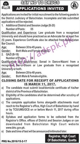 New Career Excellent Jobs High Court of Balochistan Quetta Jobs for Additional District and Session Judge and QAZI (BPS-18) Application Form Deadline 11-03-2017 Apply Now