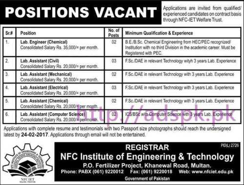 New Career Excellent Jobs NFC Institute of Engineering and Technology Multan Jobs 2017 for Lab Engineer Chemical Lab Assistant (Civil Electrical Mechanical Chemical Computer Science) Application Deadline 24-02-2017 Apply Now