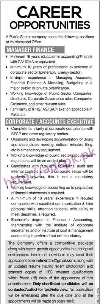 New Career Excellent Jobs Public Sector Company Islamabad Office Jobs for Manager Finance Corporate Accounts Executive Application Deadline 20-02-2017 Apply Online Now