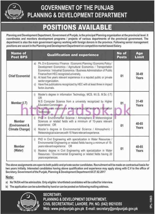 New Career Excellent Jobs Punjab Planning and Development Department Punjab Govt. Lahore Jobs for Chief Economist and Other Members (Various Disciplines) Application Deadline 27-02-2017 Apply Now