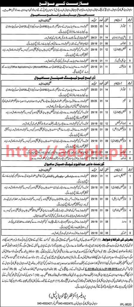 New Career Excellent Jobs Sahiwal Medial College Jobs for Stenographer Warden Accountant Technician Junior Clerk and Other Staff Application Deadline 31-08-2016 Apply Now