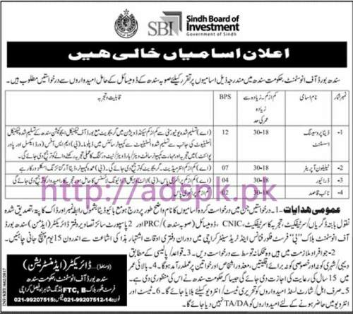 New Career Excellent Jobs Sindh Board of Investment Govt. of Sindh Karachi Jobs for Data Processing Assistant Telephone Operator Driver Naib Qasid Application Deadline 26-02-2017 Apply Now