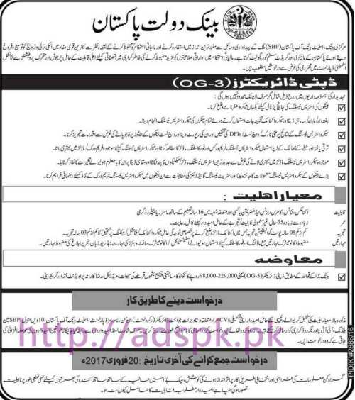 New Career Excellent Jobs State Bank of Pakistan Jobs for Deputy Directors (OG-3) Application Deadline 20-02-2017 Apply Now