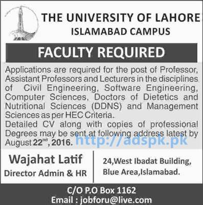 New Career Good Jobs University of Lahore (Islamabad Campus) Jobs for Professors and Lecturers in Various Disciplines Application Deadline 22-08-2016 Apply Now