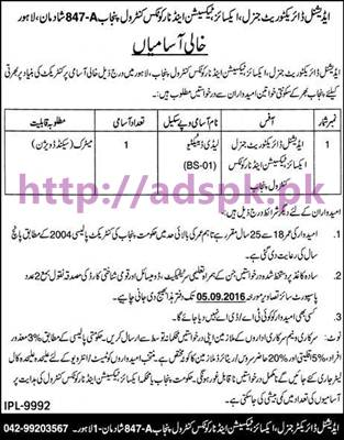 New Career Jobs Additional Directorate General Excise Taxation and Narcotics Control Punjab Lahore Jobs for Lady Detective Application Deadline 05-09-2016 Apply Now