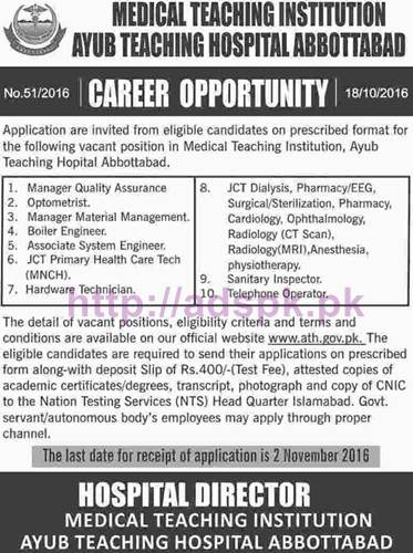 New Career Jobs Ayub Teaching Hospital Abbottabad Jobs for Manager QA Optometrist Associate System Engineer and Other Staff Application Deadline 02-11-2016 Apply Now