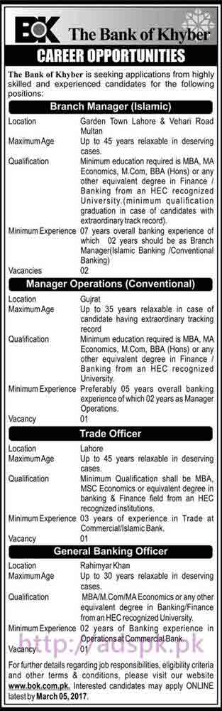 New Career Jobs Bank of Khyber BOK Jobs 2017 for Branch Manager (Islamic) Manager Operations (Conventional) Trade Officer General Banking Officer Application Deadline 05-03-2017 Apply Online Now