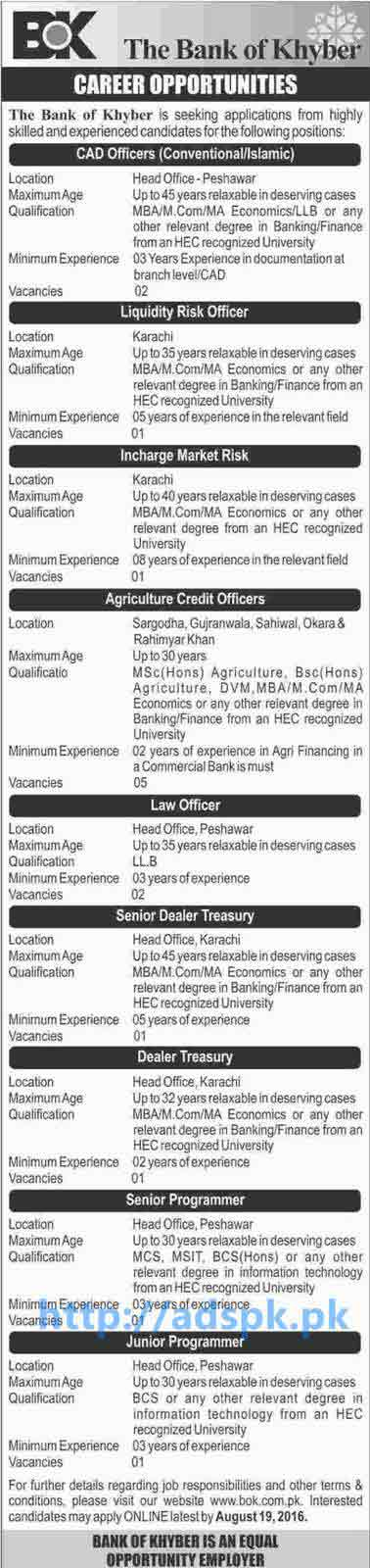 New Career Jobs Bank of Khyber Pakistan Jobs for CAD Officers Liquidity Risk Officer Incharge Market Risk Agriculture Credit Officers Law Officer Application Deadline 19-08-2016 Apply Online Now