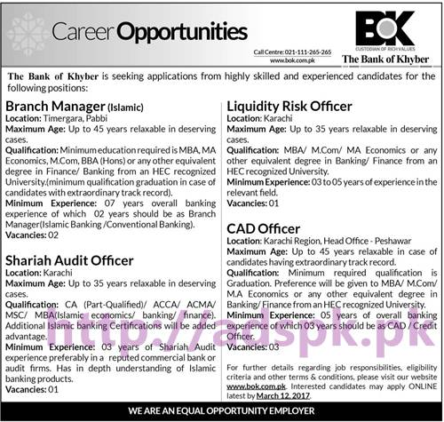 New Career Jobs Branch Manager (Islamic) Liquidity Risk Officer Shariah Audit Officer CAD Officer in BOK Bank of Khyber Application Deadline 12-03-207 Apply Now