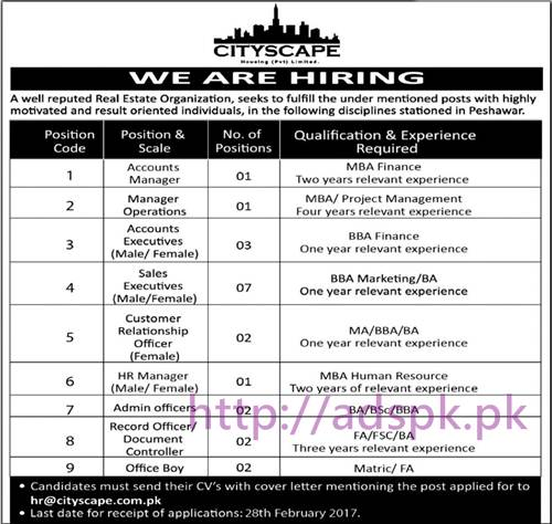 New Career Jobs Cityscape Pvt. Limited Real Estate Organization Peshawar Jobs for Managers (Accounts Operations) Accounts Executives Sales Executive Application Deadline 28-02-2017 Apply Online Now