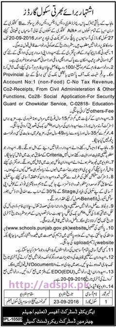 New Career Jobs Education Department District Jhelum Jobs for Recruitment of School Guards Application Deadline 20-09-2016 Apply Now
