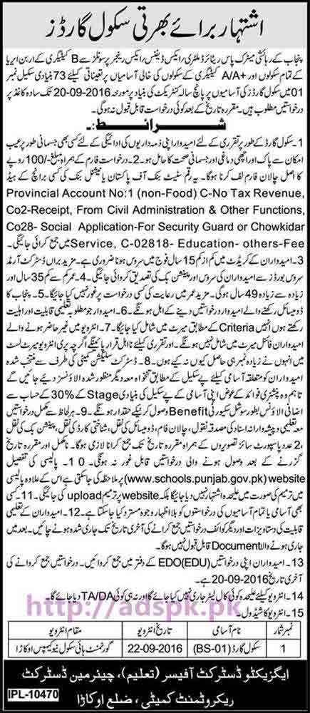 New Career Jobs Education Department District Okara Jobs for Recruitment of School Guards Application Deadline 20-09-2016 Apply Now