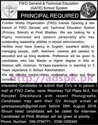 New Career Jobs FWO General & Technical Education (GATE) School System Pindi Bhattian Jobs for Principal Application Deadline 28-08-2016 Apply Now