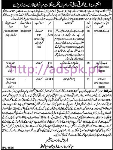 New Career Jobs Forest Department Mianwali Forest Division Jobs for Forest Guard Tube-well Operator Naib Qasid Application Deadline 04-03-2017 Apply Now