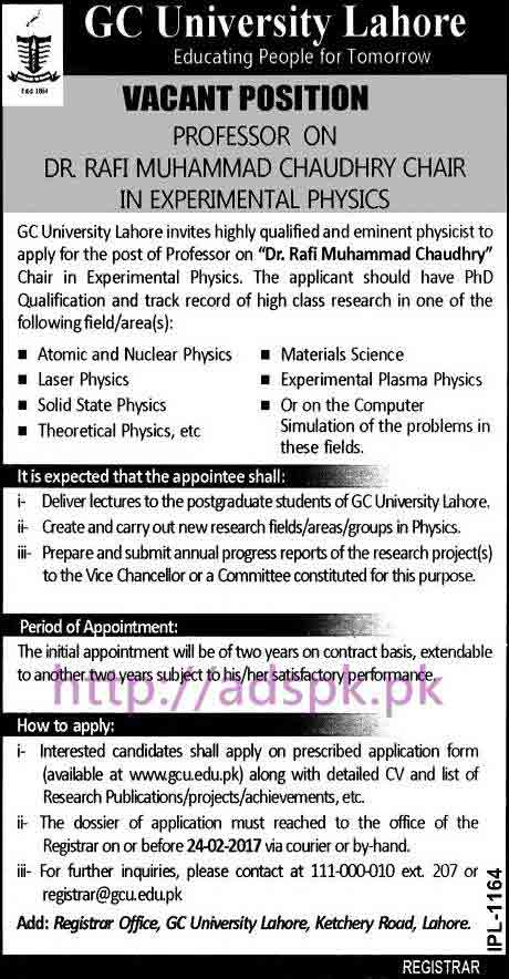 New Career Jobs GC University Lahore Jobs for Professor on Dr. Rafi Muhammad Chaudhry Chair in Experimental Physics Application Form Deadline 24-02-2017 Apply Now