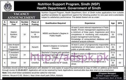 New Career Jobs Health Department Nutrition Support Program Sindh Govt. Jobs for District Nutrition Officer Data Analyst Programmer Computer Operator Application Deadline 23-02-2017 Apply Now