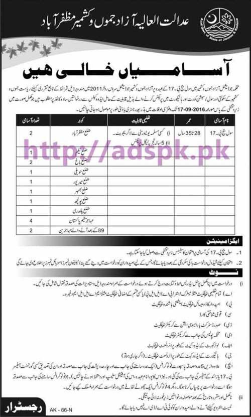 New Career Jobs High Courts Azad Jammu & Kashmir Muzaffarabad Jobs for Civil Judge (B-17) Application Deadline 17-09-2016 Apply Now
