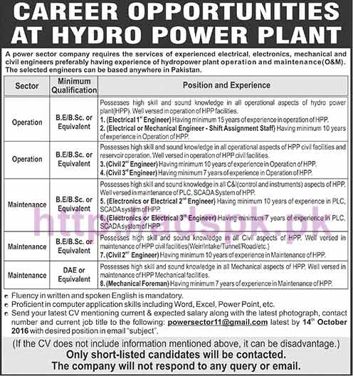 New Career Jobs Hydro Power Sector Company Pakistan Jobs for Engineers (Electrical Electronics Mechanical Civil) Application Deadline 14-10-2016 Apply Online Now