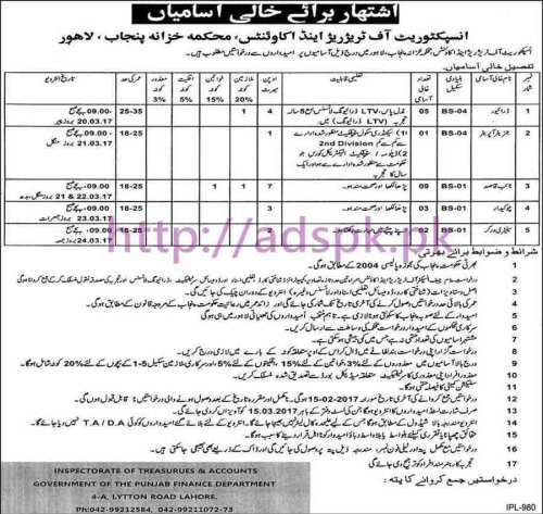 New Career Jobs Inspectorate of Treasures & Accounts Finance Department Punjab Govt. Lahore Jobs for BPS-01 to BPS-04 Jobs Application Deadline 15-02-2017 Apply Now