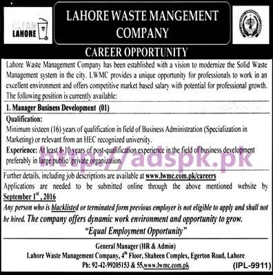 New Career Jobs Lahore Waste Management Company Lahore Jobs for Manager Business Development Application Deadline 01-09-2016 Apply Now