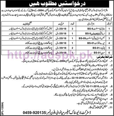 New Career Jobs Livestock Department District Mianwali Jobs for BPS-01 to BPS-09 Veterinary Assistant AI Technician and Other Staff Application Deadline 22-10-2016 Apply Now