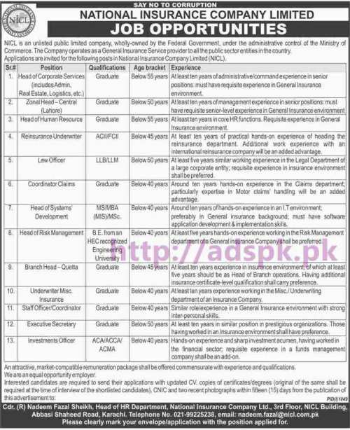 New Career Jobs National Insurance Company Limited NICL Karachi Jobs for Graduates LL.B LL.M MS MBA ACA ACCA ACMA Application Deadline 15-09-2016 Apply Now