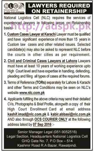 New Career Jobs National Logistics Cell NLC Rawalpindi Jobs for Lawyers on Retainer-Ship Basis at Karachi & Lahore Application Deadline 07-09-2016 Apply Now