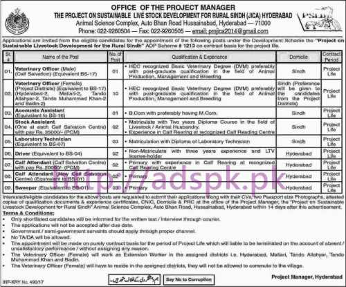 New Career Jobs Project Sustainable Livestock Development for Rural Sindh (JICA) Hyderabad Jobs for Veterinary Officer (Male-Female) Accounts Assistant Stock Assistant Lab Technician Application Deadline 16-02-2017 Apply Now