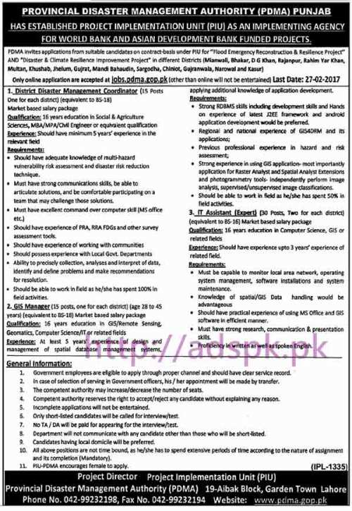 New Career Jobs Provincial Disaster Management Authority PDMA Punjab Jobs for District Disaster Management Coordinator GIS Manager I.T Assistant Application Deadline 27-02-2017 Apply Now