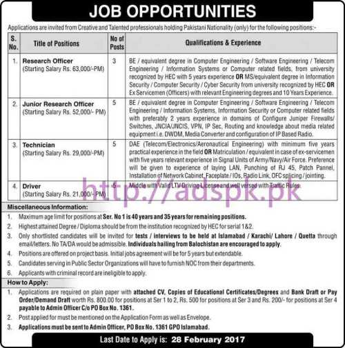 New Career Jobs Public Sector Organization P.O Box 1361 GPO Islamabad Jobs for Research Officer Junior Research Officer Technician Driver Application Deadline 28-02-2017 Apply Now