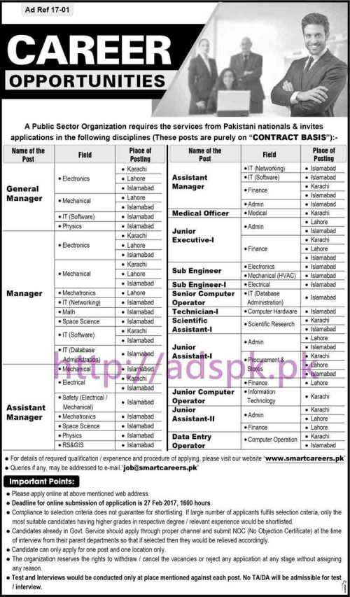 New Career Jobs Public Sector Organization Pakistan Karachi Lahore Islamabad Jobs for General Managers (Electronics Mechanical I.T Physics) Managers Assistant Managers Application Deadline 27-02-2017 Apply Online Now