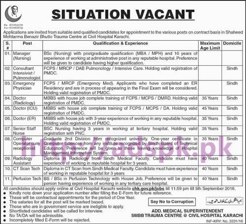New Career Jobs Shaheed Mohtarma Benazir Bhutto Trauma Centre Civil Hospital Karachi Jobs for Manager Nursing Consultant Emergency Physician Doctors Senior Staff Nurse Application Deadline 05-09-2016 Apply Now