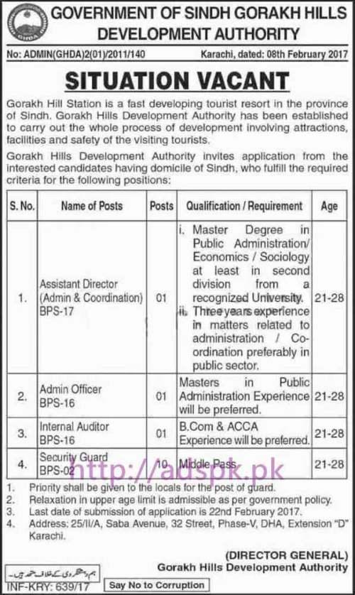 New Career Jobs Sindh Govt. Gorakh Hills Development Authority Karachi Jobs for Assistant Director Admin Officer Internal Auditor Security Guard Application Deadline 22-02-2017 Apply Now