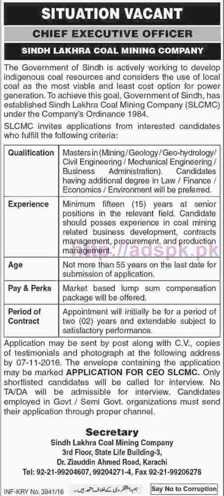 New Career Jobs Sindh Lakhra Coal Mining Company Karachi Jobs for Chief Executive Officer Application Deadline 07-11-2016 Apply Now