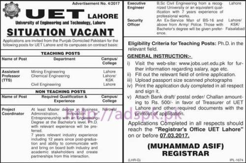 New Career Jobs UET Lahore Jobs for Assistant Professor (TTS) Project Coordinator Executive Engineer Security Officer Application Deadline 07-03-2017 Apply Online Now