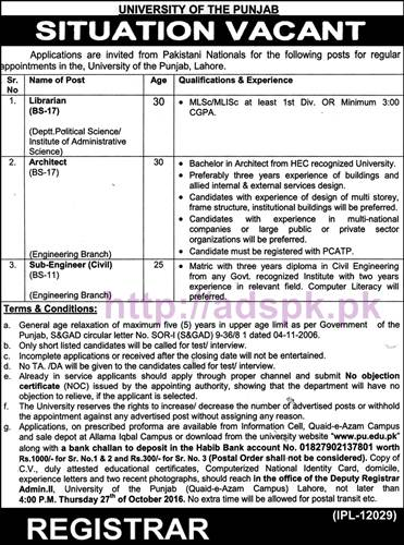 New Career Jobs University of Punjab Lahore Jobs for Librarian Architect Sub Engineer Application Deadline 27-10-2016 Apply Now