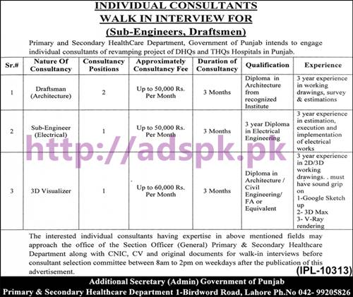 New Career Jobs Walk in Interview Primary & Secondary Healthcare Department Punjab Lahore for Individual Consultants Sub Engineer (Electrical) Draftsman (Architecture) 3D Visualizer Apply Now