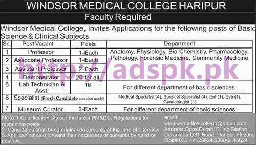 New Career Jobs Windsor Medical College Haripur Hazara Jobs for Professors Demonstrator Lab Technician Medical Specialists Museum Curator Apply Now