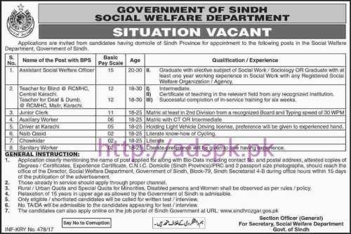 New Career Sindh Rozgar Excellent Jobs Social Welfare Department Sindh Govt. Jobs for Assistant Social Welfare Officer Teacher for Blind Junior Clerk Auxiliary Worker Driver Application Deadline 16-02-2017 Apply Now