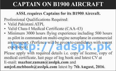 New Excellent Aircraft Sales & Services Pvt. Limited ASSL Pakistan Jobs for Captain on B1900 Aircraft Applications Deadline 07-08-2016 Apply Online Now