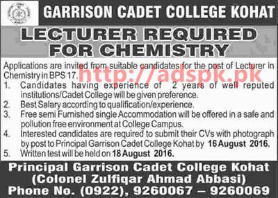 New Excellent Career Jobs Garrison Cadet College Kohat Jobs for Lecturer Application Deadline 16-08-2016 Apply Now