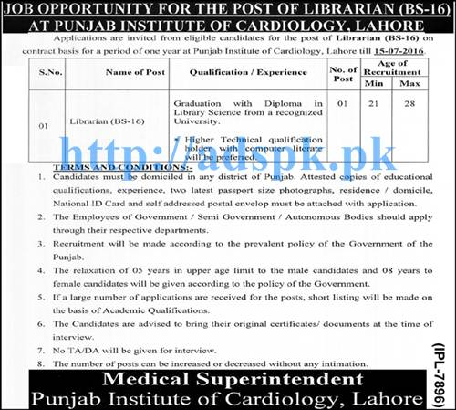 New Excellent Jobs Punjab Institute of Cardiology Lahore Jobs for Librarian (BPS-16) Applications Deadline 15-07-2016 Apply Now