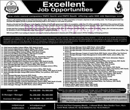 New Jobs Excellent Opportunities PSPC Punjab Saaf Pani Company Govt. of Punjab Jobs 2017 for Chief GM Senior Managers Assistant Managers Jobs Application Deadline 15-05-2017 Apply Online Now