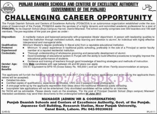 New Jobs Punjab Daanish School (Boys Campus) Harnoli District Mianwali Govt. of Punjab Jobs 2017 for Principal Jobs Application Deadline 05-06-2017 Apply Now
